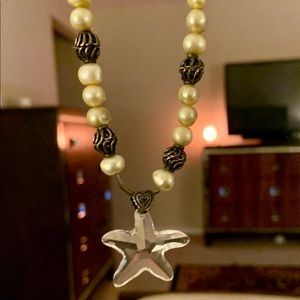 Set Genuine pearl starfish crystal green